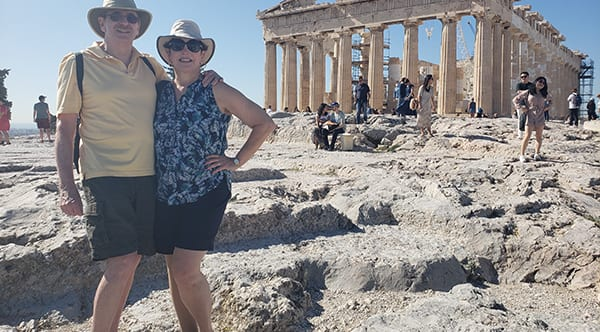 Gali, a former patient of Dr. Jay Granzow, MD, with her husband at the Parthenon in Athens, Greece.