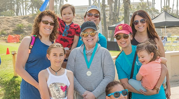 Sophia with Academy Award winning actress and energetic lymphedema survivor and patient advocate Kathy Bates and team Granzow at the LE&RN Lymphedema walk in Santa Monica, California.